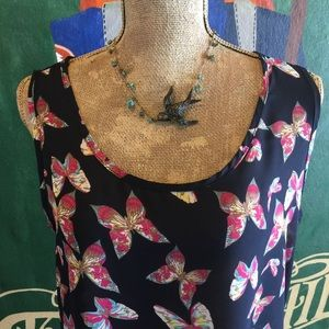 Butterfly Print tank top Sleeveless